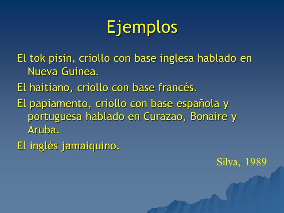 EjemplosEl tok pisin, criollo con base inglesa hablado en Nueva Guinea. El haitiano, criollo con base francés.