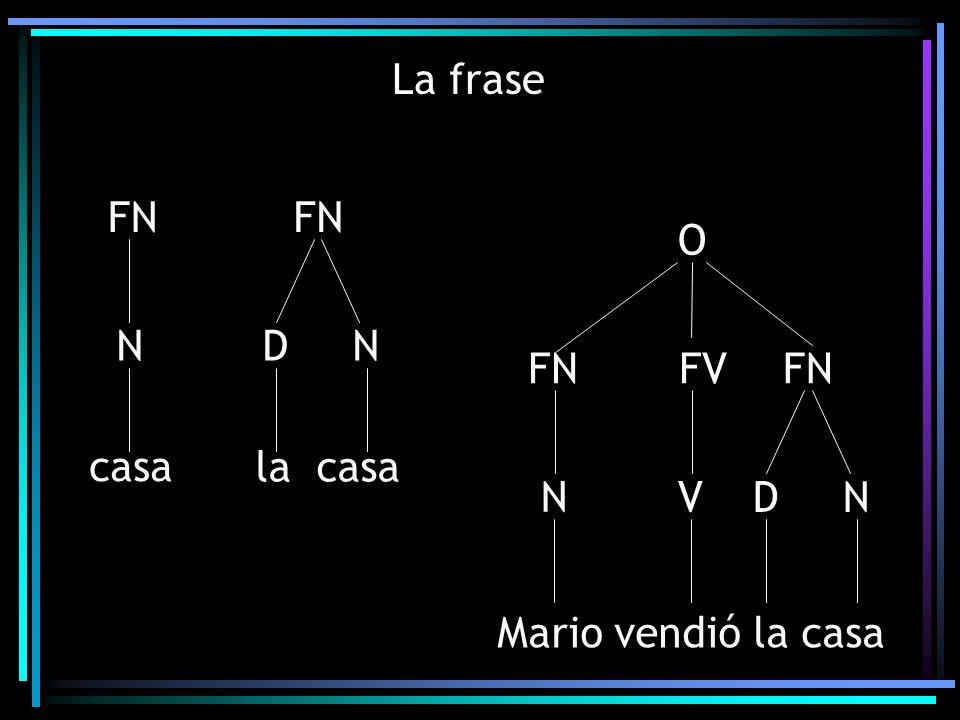 La frase FN casa N FN la casa D N Mario vendió la casa O FV FN D N V N