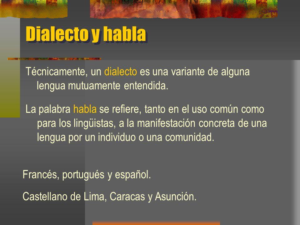 Dialecto y habla Técnicamente, un dialecto es una variante de alguna lengua mutuamente entendida.