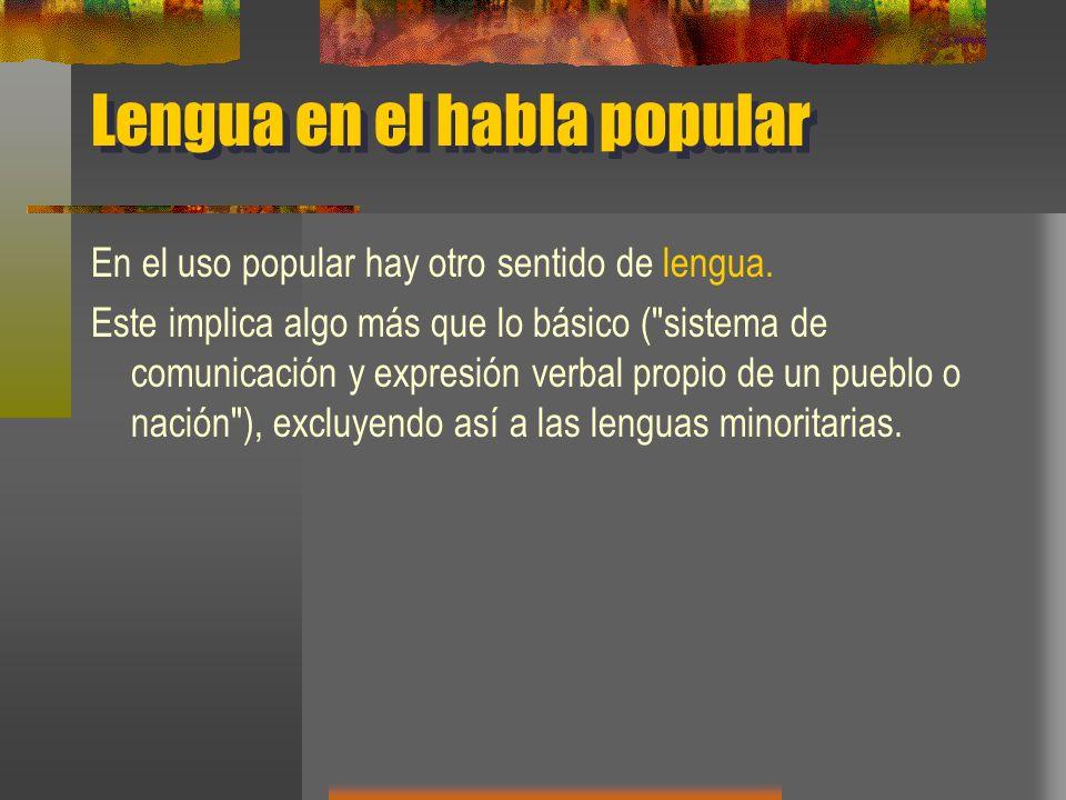 Lengua en el habla popular