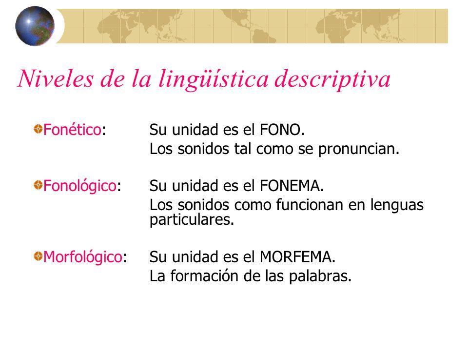 Niveles de la lingüística descriptiva
