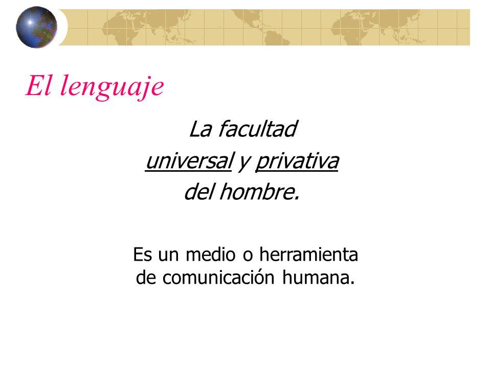 El lenguaje La facultad universal y privativa del hombre.