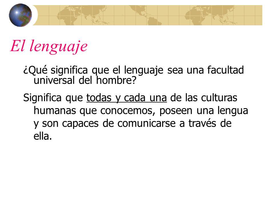 El lenguaje ¿Qué significa que el lenguaje sea una facultad universal del hombre