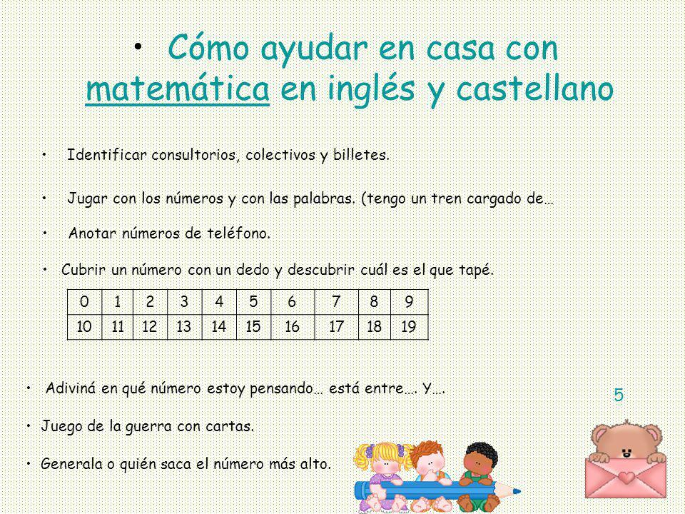 matemática en inglés y castellano