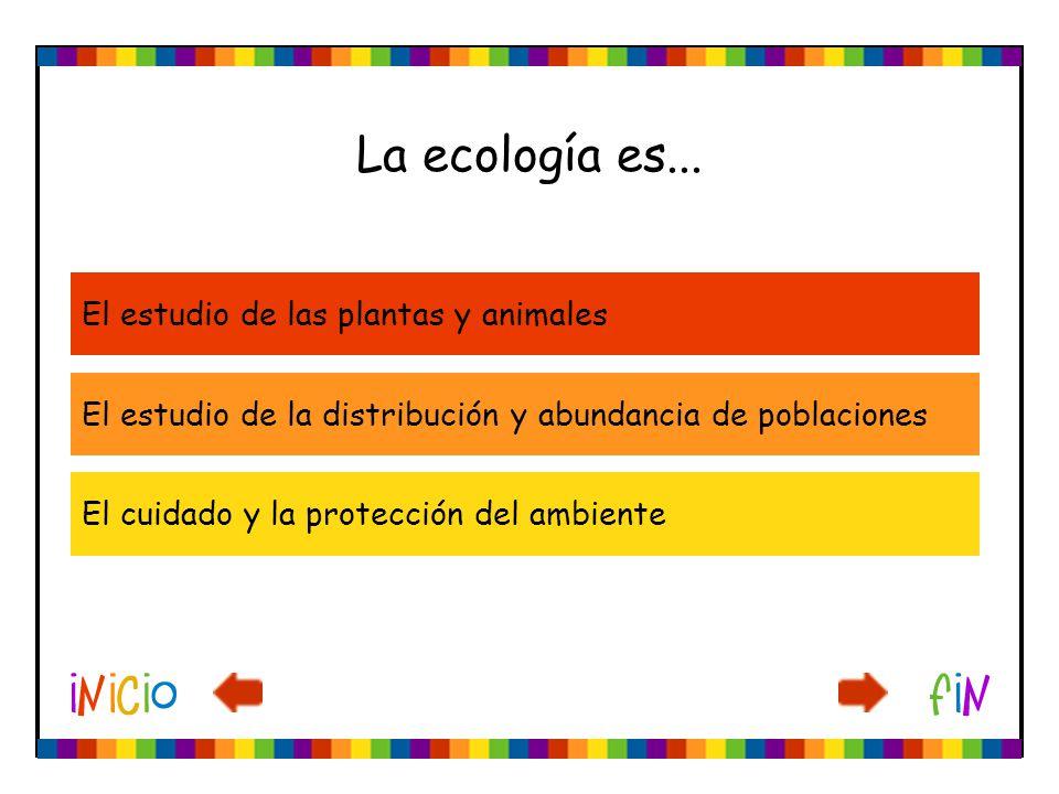 La ecología es... El estudio de las plantas y animales