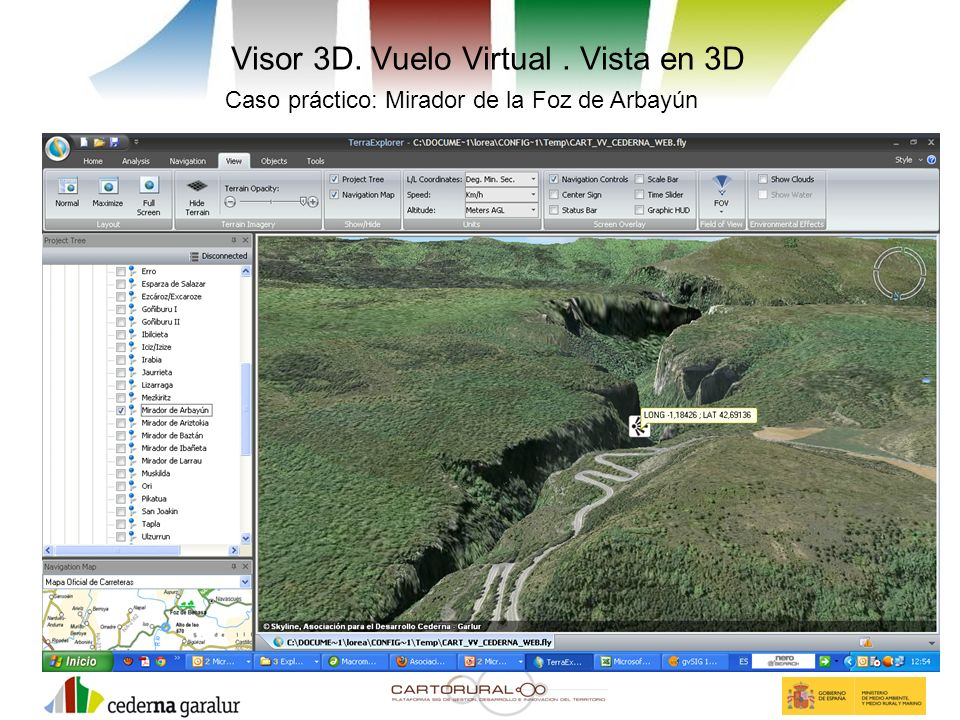 Visor 3D. Vuelo Virtual . Vista en 3D