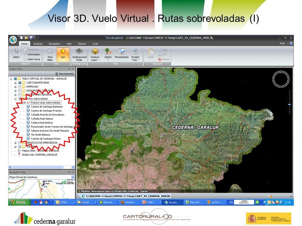 Visor 3D. Vuelo Virtual . Rutas sobrevoladas (I)