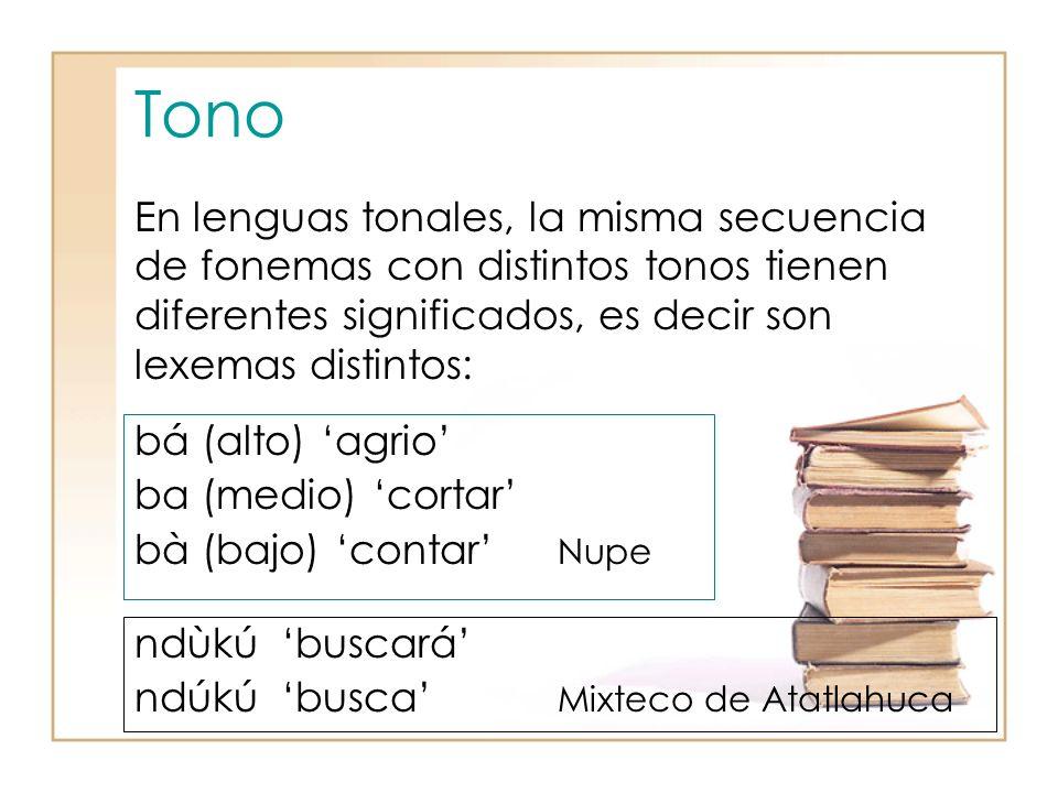 Tono En lenguas tonales, la misma secuencia de fonemas con distintos tonos tienen diferentes significados, es decir son lexemas distintos: