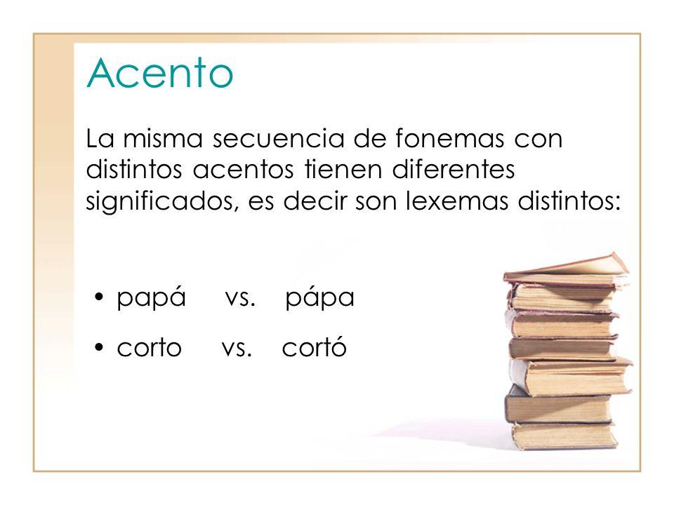 Acento La misma secuencia de fonemas con distintos acentos tienen diferentes significados, es decir son lexemas distintos: