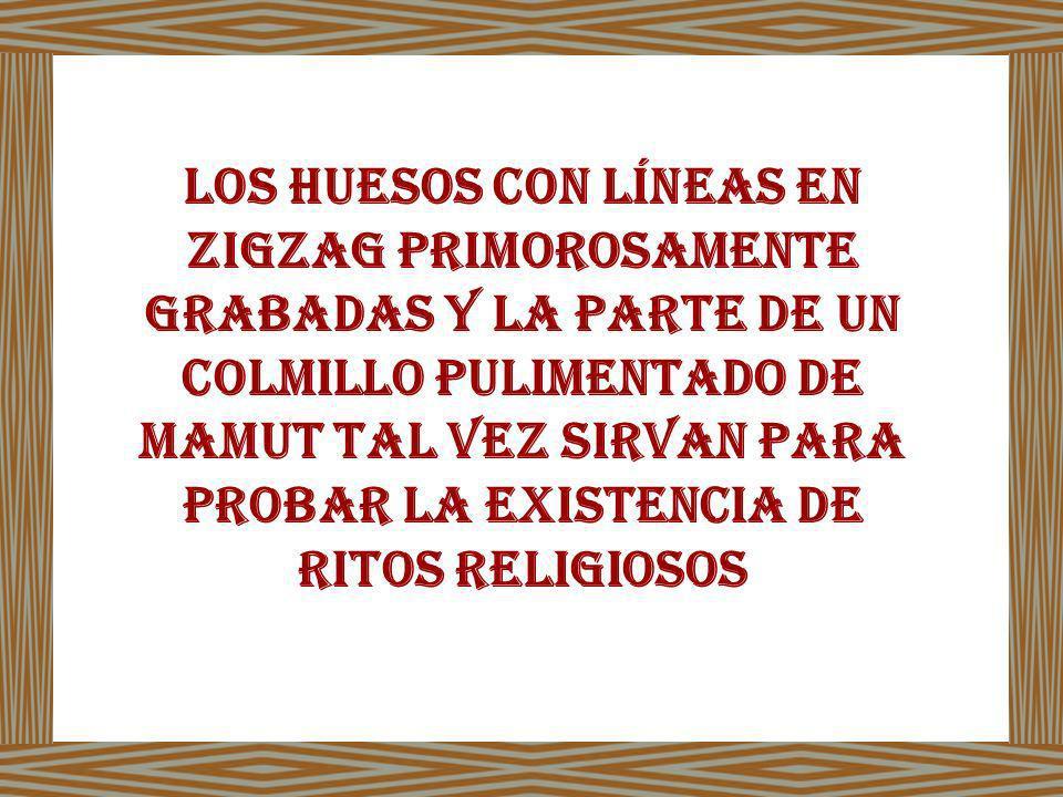 LOS HUESOS CON LÍNEAS EN ZIGZAG PRIMOROSAMENTE GRABADAS Y LA PARTE DE UN COLMILLO PULIMENTADO DE MAMUT TAL VEZ SIRVAN PARA PROBAR LA EXISTENCIA DE RITOS RELIGIOSOS