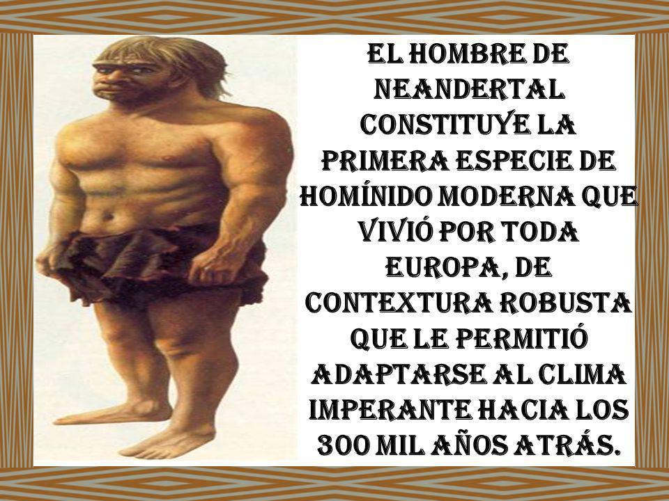 El hombre de Neandertal constituye la primera especie de homínido moderna que vivió por toda Europa, de contextura robusta que le permitió adaptarse al clima imperante hacia los 300 mil años atrás.