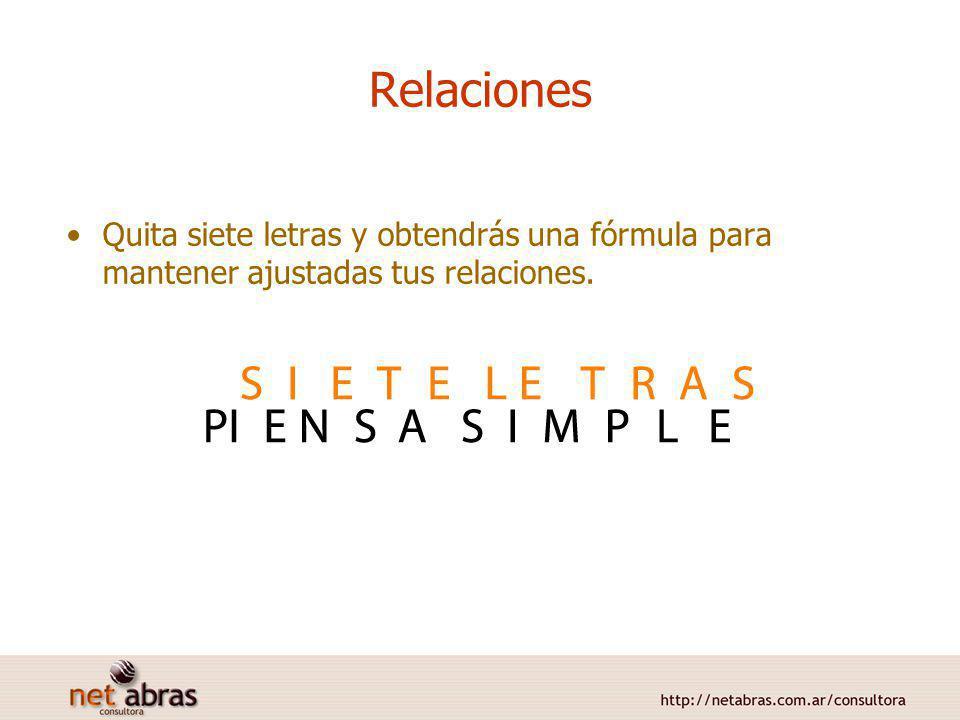 Relaciones Quita siete letras y obtendrás una fórmula para mantener ajustadas tus relaciones.