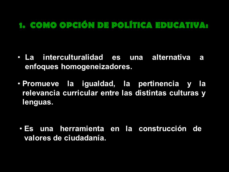 La interculturalidad es una alternativa a enfoques homogeneizadores.