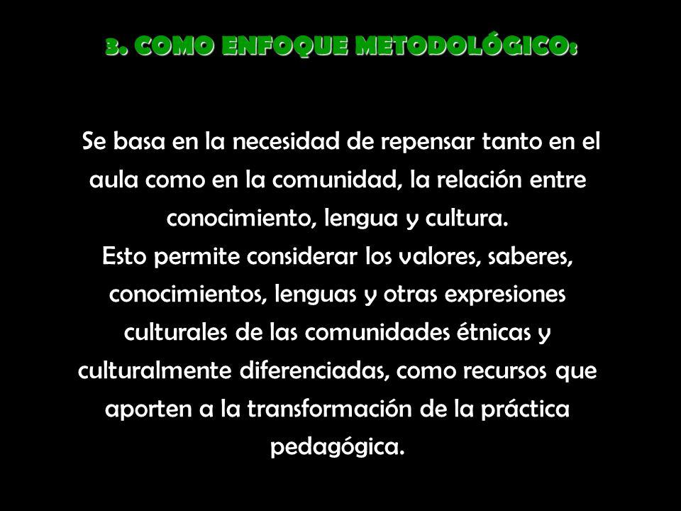 3. COMO ENFOQUE METODOLÓGICO: