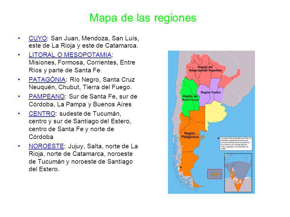 Mapa de las regiones CUYO: San Juan, Mendoza, San Luís, este de La Rioja y este de Catamarca.
