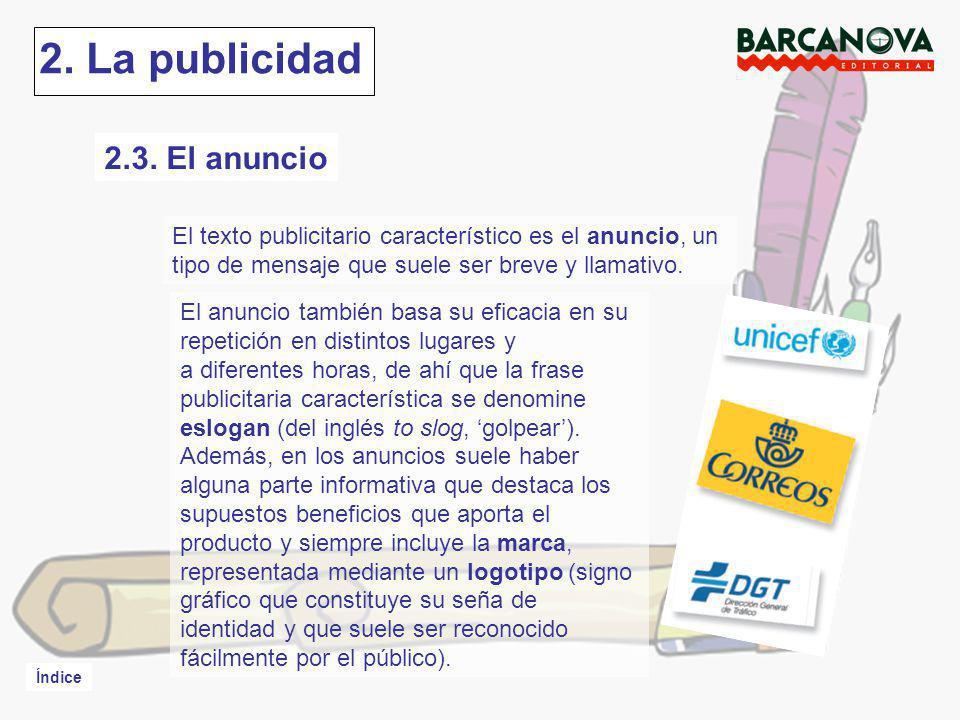 2. La publicidad 2.3. El anuncio