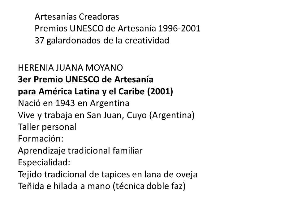 Artesanías Creadoras Premios UNESCO de Artesanía 1996-2001 37 galardonados de la creatividad