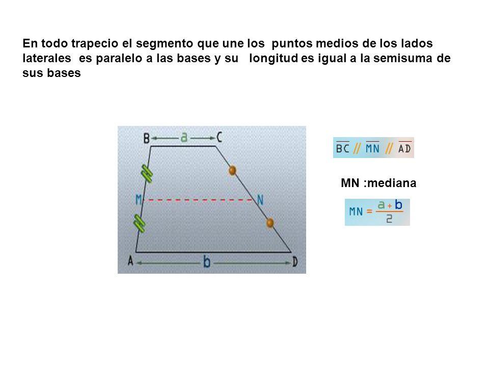 En todo trapecio el segmento que une los puntos medios de los lados laterales es paralelo a las bases y su longitud es igual a la semisuma de sus bases