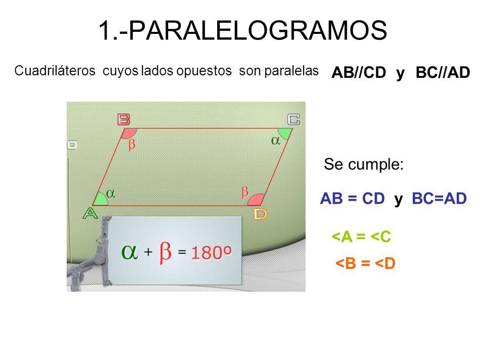 1.-PARALELOGRAMOS AB//CD y BC//AD Se cumple: AB = CD y BC=AD