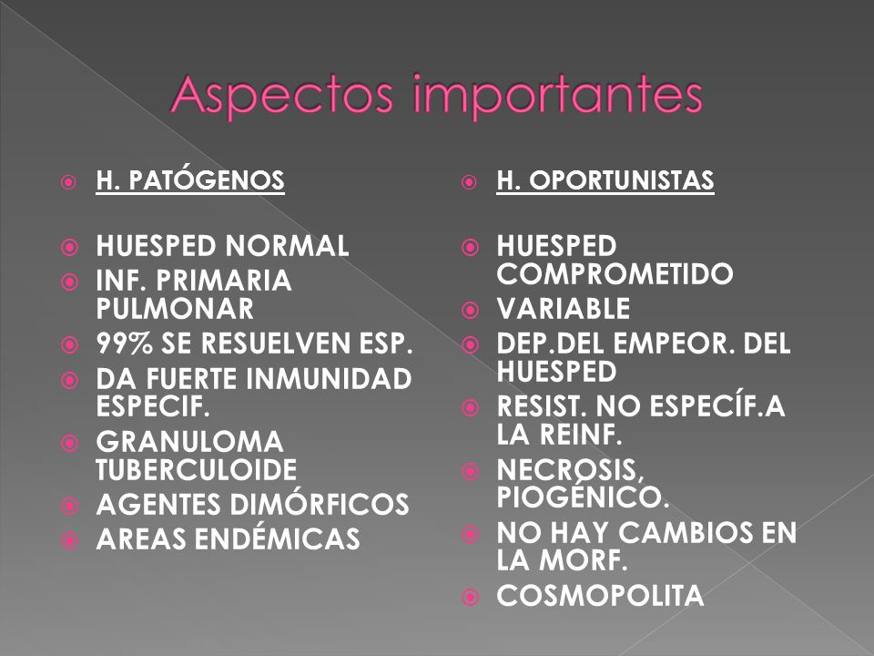 Aspectos importantes HUESPED NORMAL INF. PRIMARIA PULMONAR