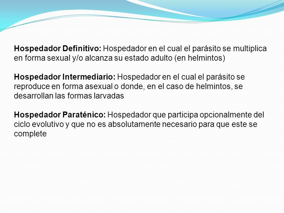 Hospedador Definitivo: Hospedador en el cual el parásito se multiplica en forma sexual y/o alcanza su estado adulto (en helmintos)