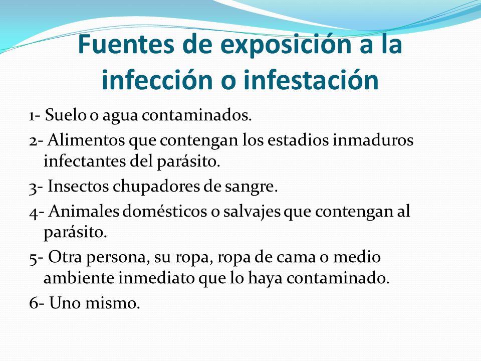 Fuentes de exposición a la infección o infestación