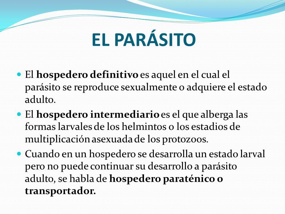 EL PARÁSITO El hospedero definitivo es aquel en el cual el parásito se reproduce sexualmente o adquiere el estado adulto.