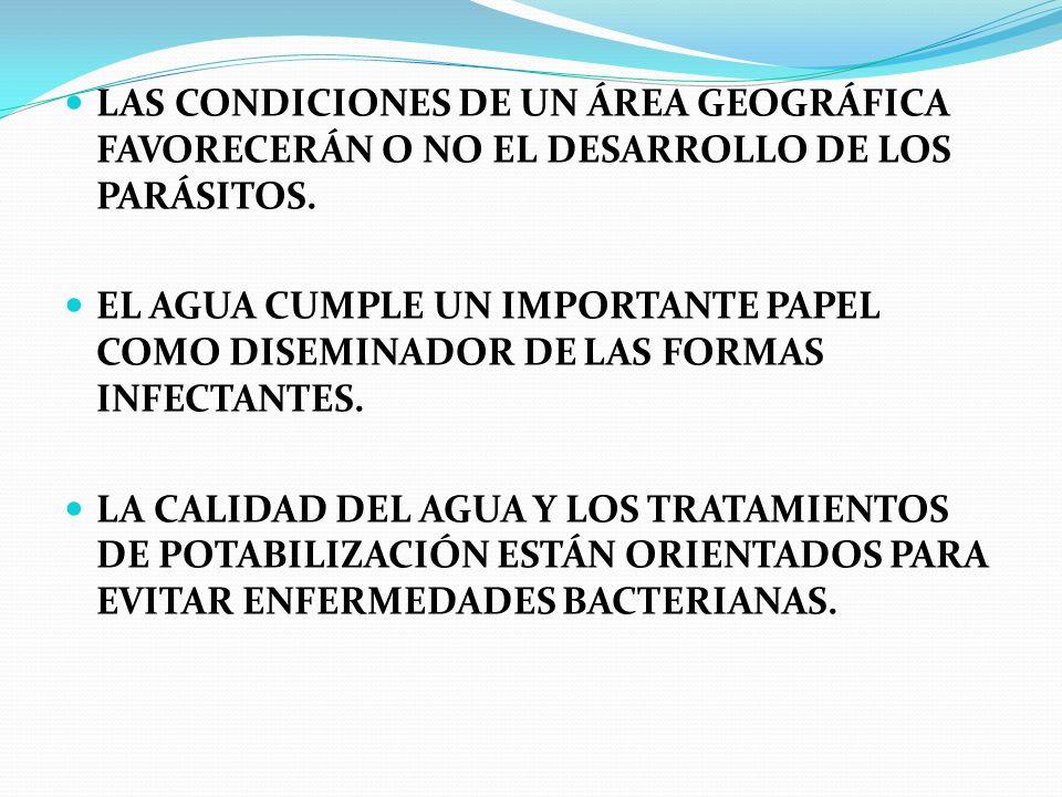LAS CONDICIONES DE UN ÁREA GEOGRÁFICA FAVORECERÁN O NO EL DESARROLLO DE LOS PARÁSITOS.