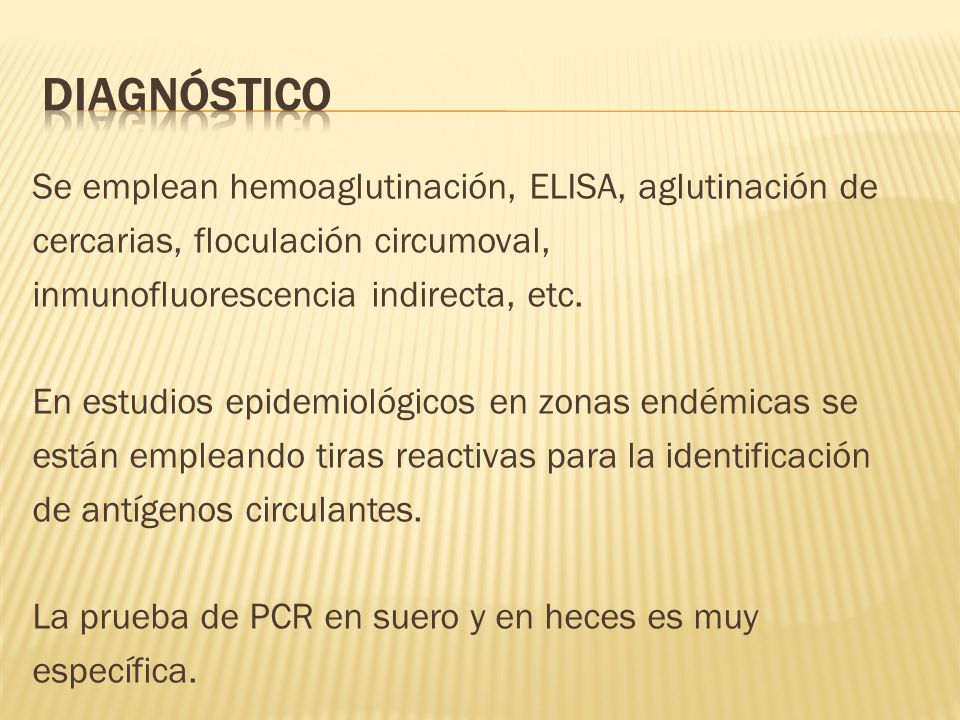 Diagnóstico Se emplean hemoaglutinación, ELISA, aglutinación de