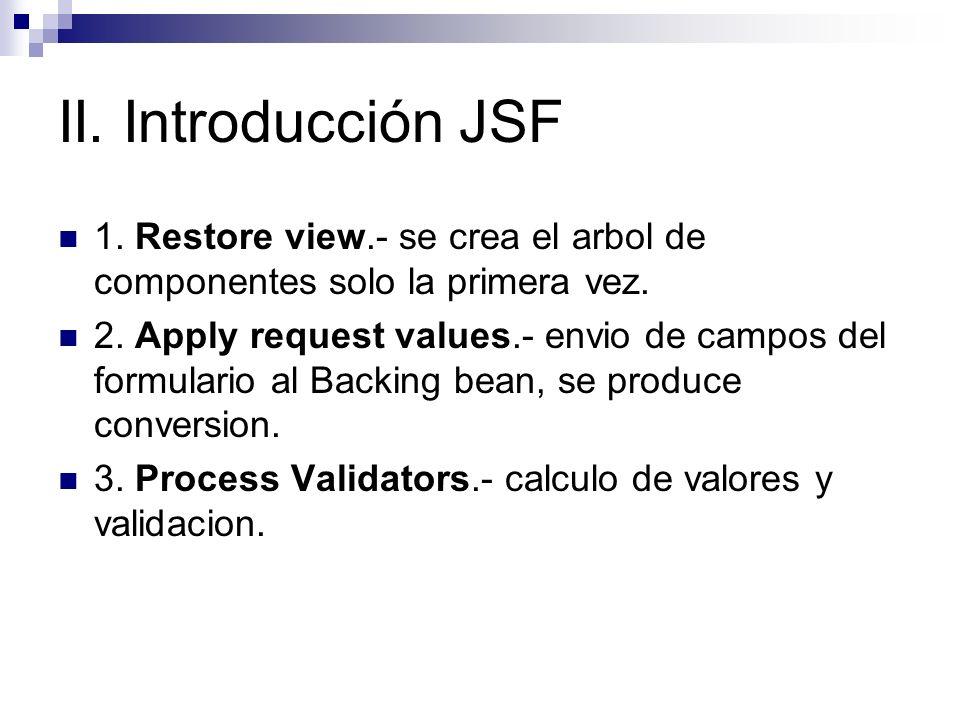 II. Introducción JSF1. Restore view.- se crea el arbol de componentes solo la primera vez.