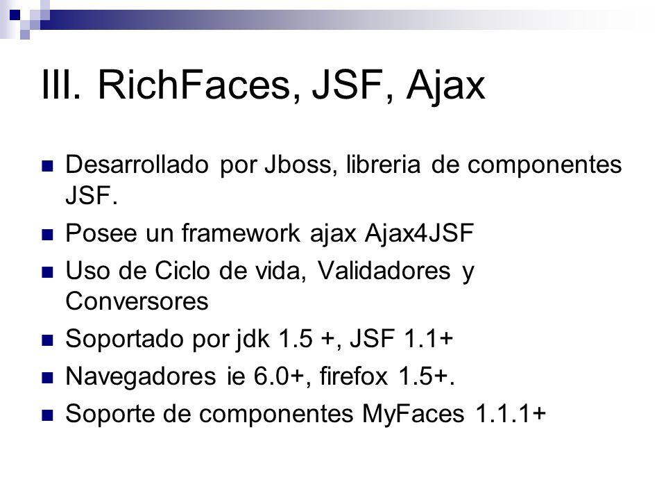 III. RichFaces, JSF, Ajax Desarrollado por Jboss, libreria de componentes JSF. Posee un framework ajax Ajax4JSF.