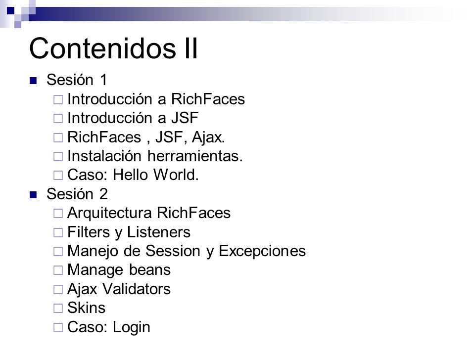 Contenidos II Sesión 1 Introducción a RichFaces Introducción a JSF