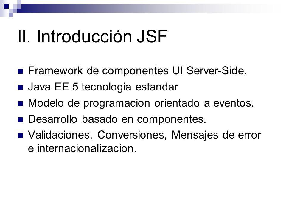 II. Introducción JSF Framework de componentes UI Server-Side.
