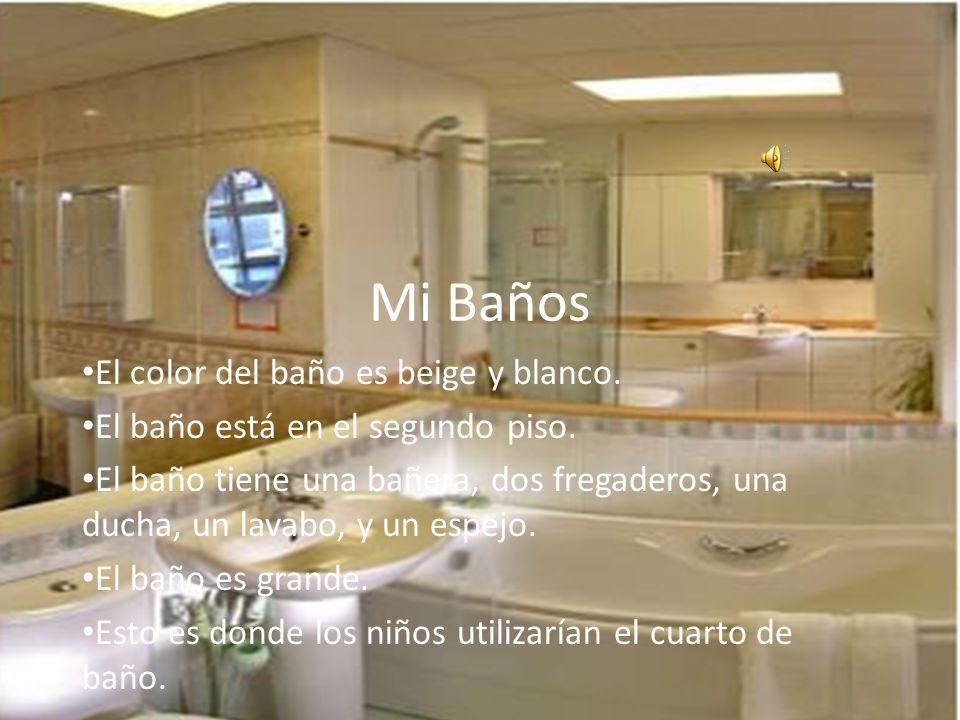 Mi Baños El color del baño es beige y blanco.