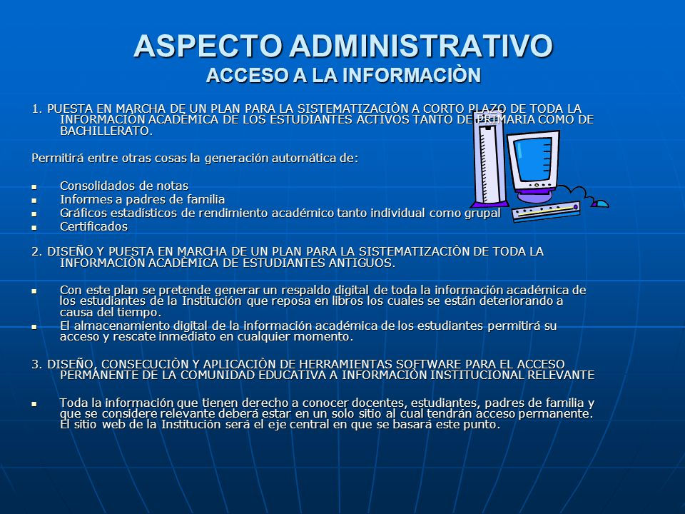 ASPECTO ADMINISTRATIVO ACCESO A LA INFORMACIÒN