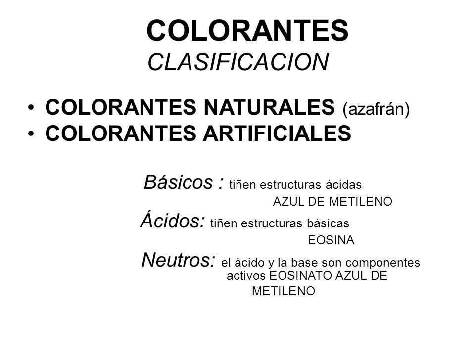 COLORANTES CLASIFICACION