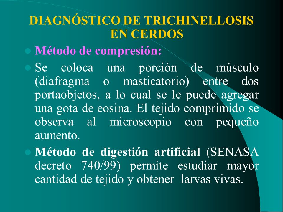 DIAGNÓSTICO DE TRICHINELLOSIS EN CERDOS