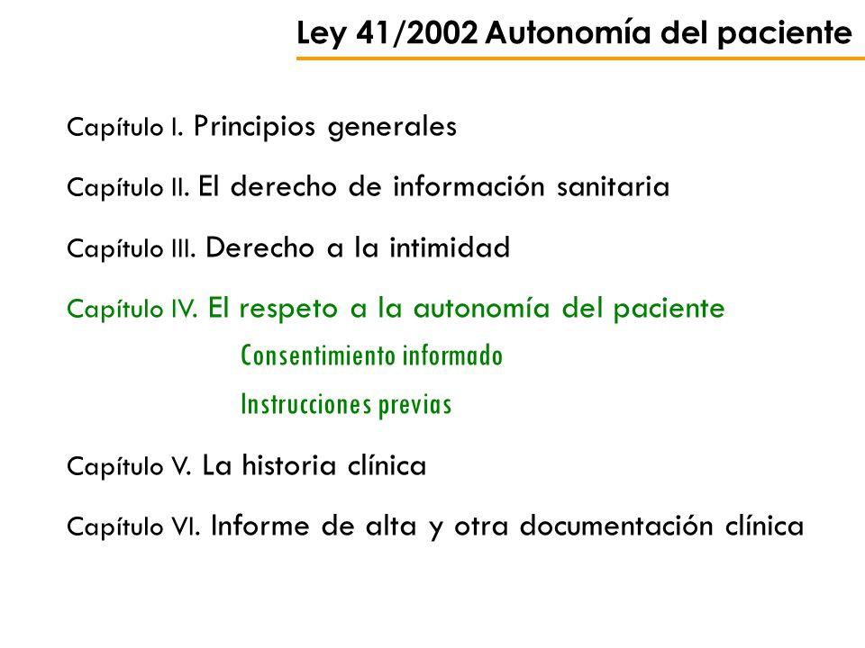 Ley 41/2002 Autonomía del paciente