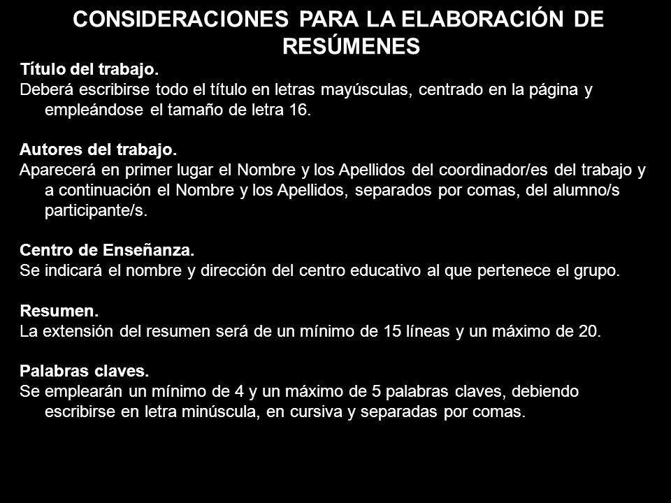 CONSIDERACIONES PARA LA ELABORACIÓN DE RESÚMENES