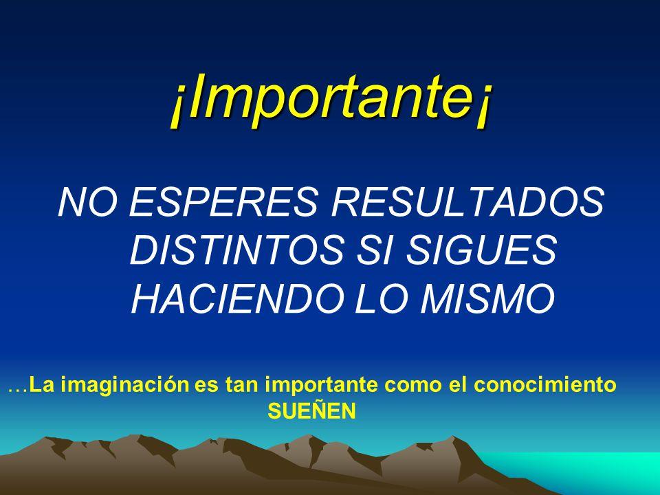 ¡Importante¡ NO ESPERES RESULTADOS DISTINTOS SI SIGUES HACIENDO LO MISMO. …La imaginación es tan importante como el conocimiento.