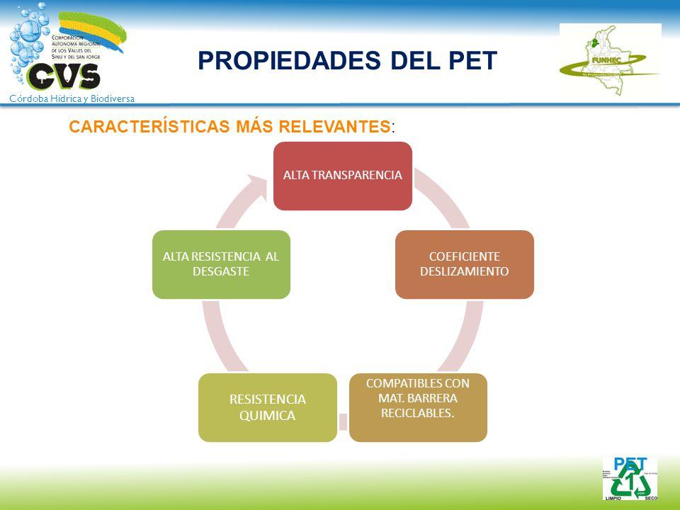 PROPIEDADES DEL PET CARACTERÍSTICAS MÁS RELEVANTES: