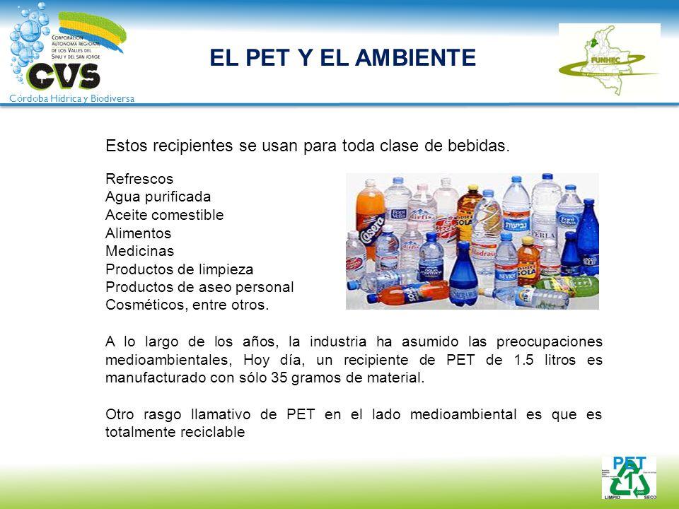 EL PET Y EL AMBIENTE Estos recipientes se usan para toda clase de bebidas. Refrescos. Agua purificada.