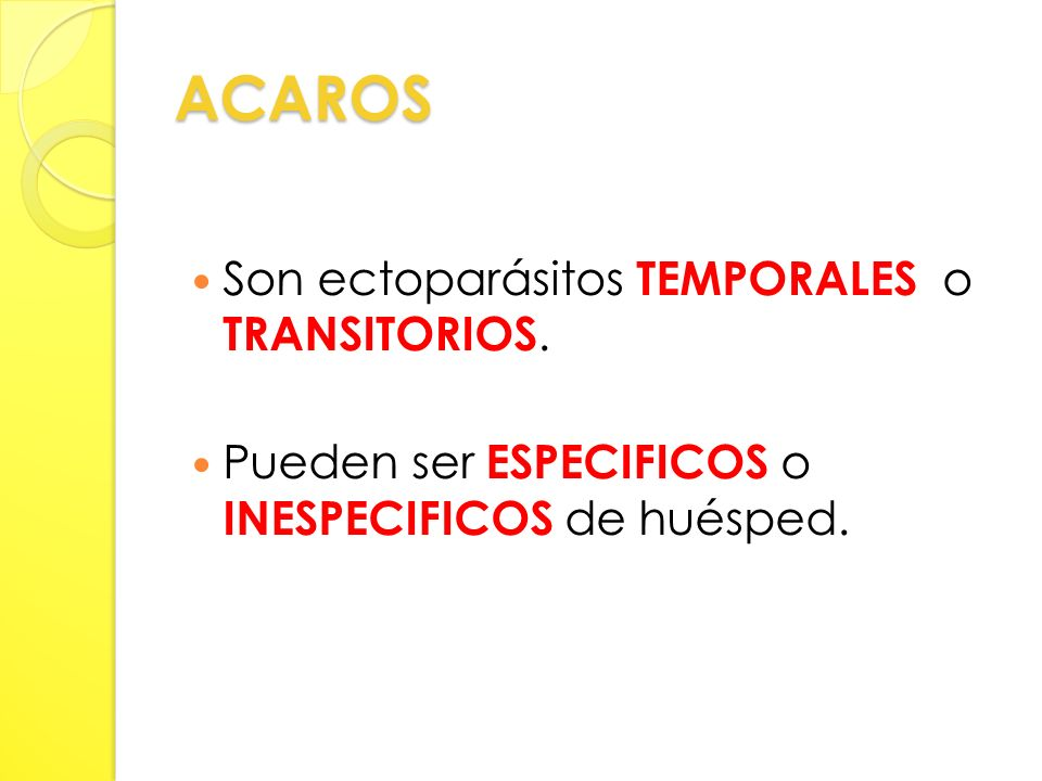 ACAROS Son ectoparásitos TEMPORALES o TRANSITORIOS.