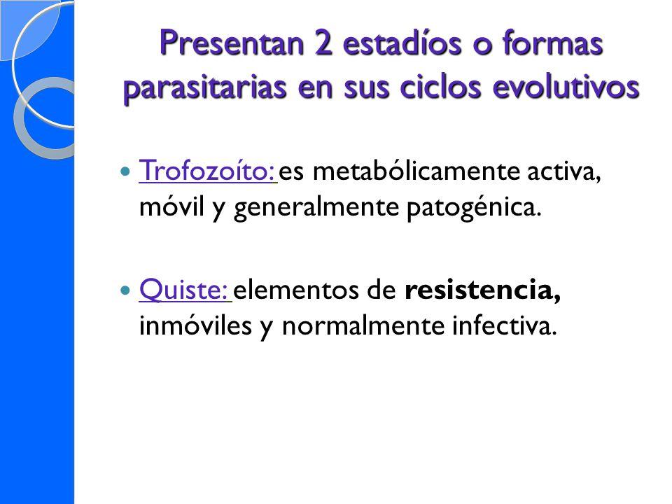 Presentan 2 estadíos o formas parasitarias en sus ciclos evolutivos