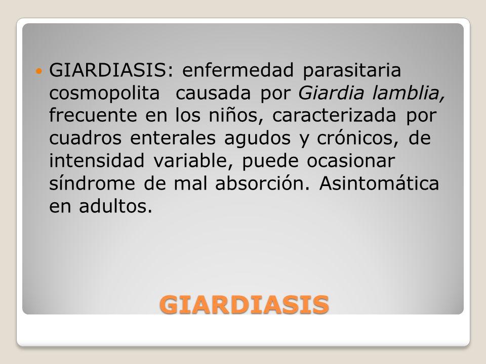 GIARDIASIS: enfermedad parasitaria cosmopolita causada por Giardia lamblia, frecuente en los niños, caracterizada por cuadros enterales agudos y crónicos, de intensidad variable, puede ocasionar síndrome de mal absorción. Asintomática en adultos.