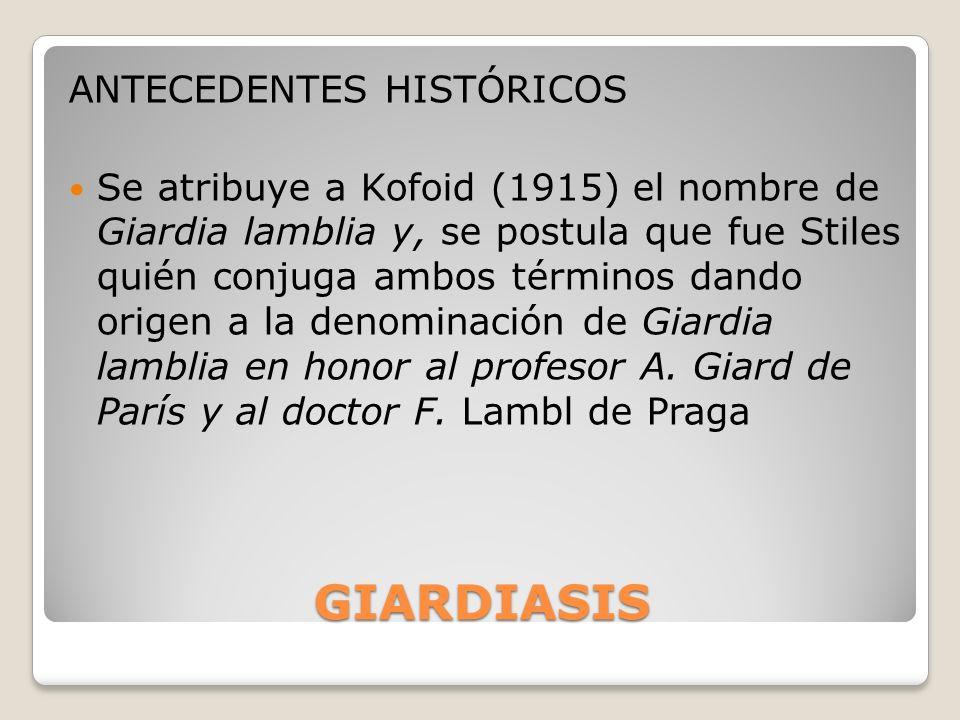 GIARDIASIS ANTECEDENTES HISTÓRICOS
