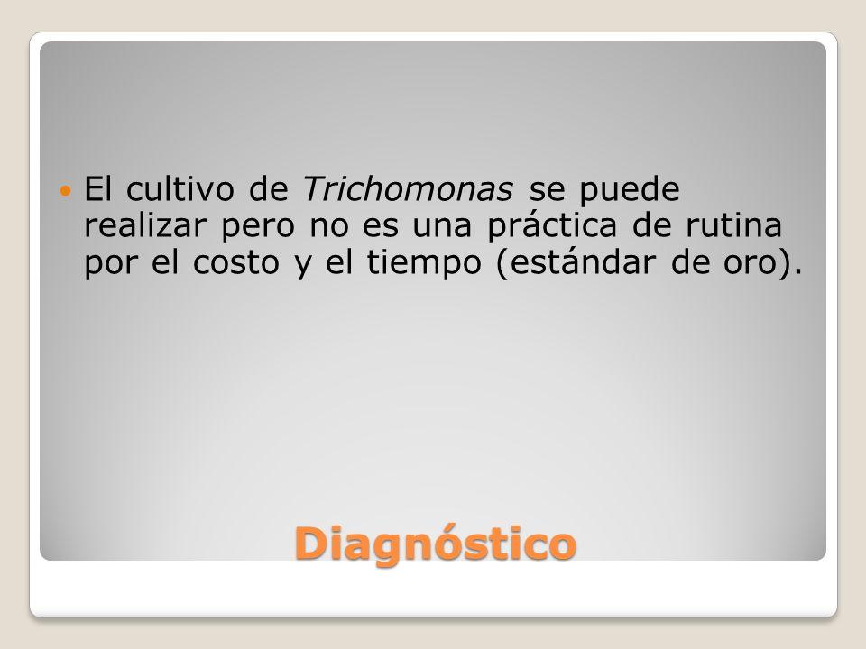 El cultivo de Trichomonas se puede realizar pero no es una práctica de rutina por el costo y el tiempo (estándar de oro).