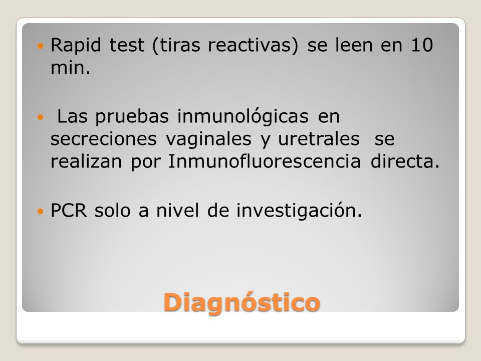 Diagnóstico Rapid test (tiras reactivas) se leen en 10 min.