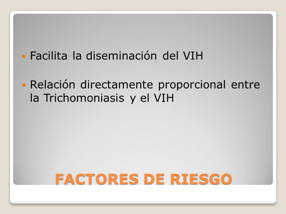 FACTORES DE RIESGO Facilita la diseminación del VIH