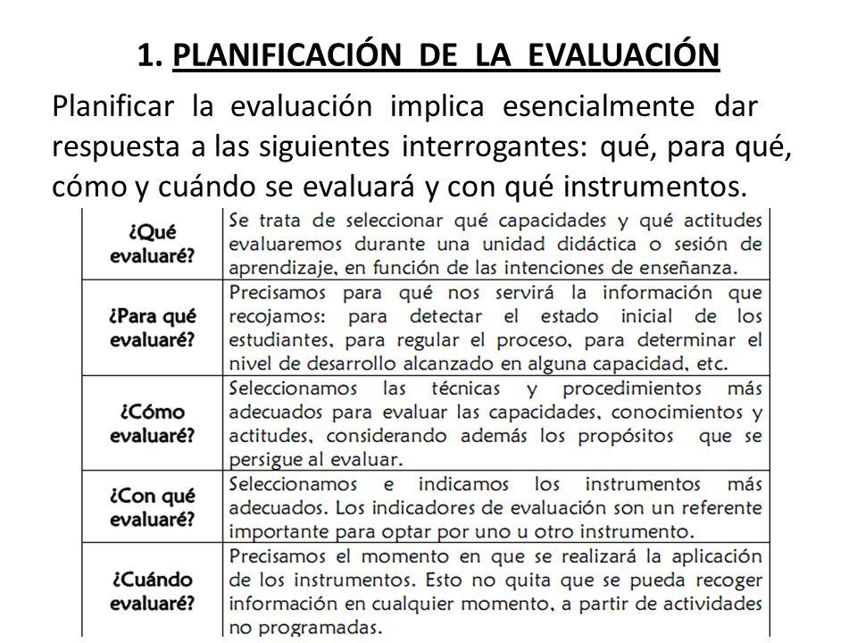 1. PLANIFICACIÓN DE LA EVALUACIÓN